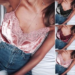 Women Velvet Clothes Australia - Women Sexy Hot Summer Clothes V-neck Lace Solid Casual Vest Sleeveless Camis Velvet Shirt Blouse Casual Tank Tops