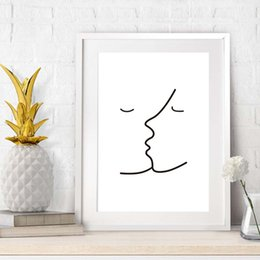 AbstrAct lines Art online shopping - Kiss Picasso Simple Line Canvas Painting Black White Abstract Wall Picture Minimalist Art Poster Print Modern Home Decor