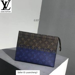 Spelling toyS online shopping - Old Flower Spell Blue Pochette Voyage Clutch M63066 Long Wallet Chain Wallets Compact Purse Clutches Evening Key