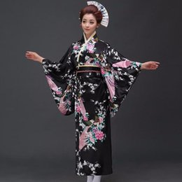 japanese kimono women cosplay NZ - Fashion National Trends Women Sexy Kimono Yukata With Obi Novelty Evening Dress Japanese Cosplay Costume Floral One Size
