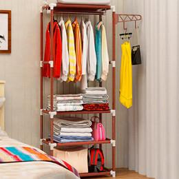 $enCountryForm.capitalKeyWord Australia - Simple removable multifunctional metal wrought iron hanger floor clothes hanging coat rack storage rack hanger bedroom furniture