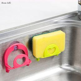 $enCountryForm.capitalKeyWord Australia - New Hot 7 cm x 4 cm x 8 cm Cute Sponge Holder Suction Cup Convenient Home Kitchen Holder Tools Gadget