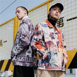 Full Zip Jacket Polyester Australia - 2018 Hip Hop Magazine Printed Full Zip Up Jackets Mens Autumn Winter Casual Jacket Coats Streetwear Male Fashion Jacket JK008