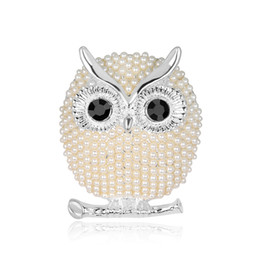 Pearl Women Clothing Australia - Fashion Owl Brooch Pin for Clothes New Bird Pins and Brooches for Women Pearl Brooches Badge for Best Friend