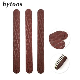 browning nail art UK - HYTOOS 5Pcs Brown Wooden Nail File Buffing 150 150 Fish Scale Sandpaper Washable Diamond Nail Buffer Manicure Art Tools