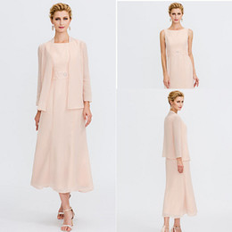 LiLac Long summer dress online shopping - 2020 Pearl Pink Mother Suits Dresses Jewel Neck Tea Length Chiffon Mother of the Bride Dress with Jacket Beading Sash Ribbon Pleats