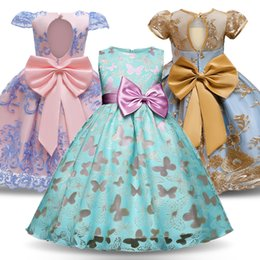 christening clothes for girls UK - Princess Dress For Christening Gown Girls Dress Children Clothing Embroidery Girls Dress Birthday Bow-knot Party clothes T200417