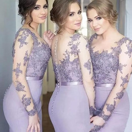 Sheer lace appliqued online shopping - Sexy Lavender Lace Appliqued Mermaid Bridesmaid Dress Cheap Sheer Lace Wedding Guest Gown Long Formal Party Wedding Guest Dress