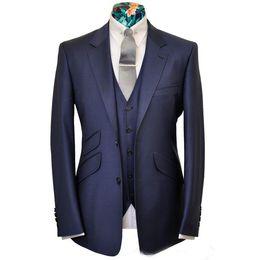 $enCountryForm.capitalKeyWord Australia - Navy Blue Groom Wedding Tuxedos Notch Lapel Slim Fit Two Button 2 Piece Suit Fashion Men Business Prom Party Pants Suits (Jacket+Vest)