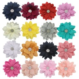 chiffon flower hair clips wholesale UK - 2020 New Boutique Chiffon Fabric Flowers For Headband Hair Clip DIY Headdress Hair Accessories free shipping
