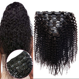 African American Hair Wholesale Australia - 7pcs set kinky curly clips ins hair extensions 100g African American Mongolian virgin afro kinky curly hair clip in human hair extensions