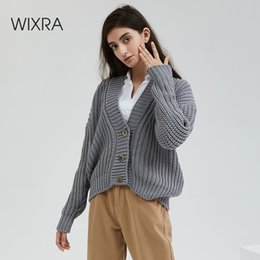 Wholesale stylish clothing for women for sale - Group buy Wixra Knitted Chunky Cardigan Sweater Women Simple Solid Thick Button Clothing Sweater Stylish Tops for Female Autumn Winter SH190930