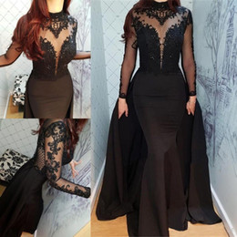 Wholesale 2019 Sheer Long Sleeves Black Satin Evening Dresses Appliques High Neck Muslim Arabic Pageant Prom Dress Mermaid Gothic Formal Party Gowns