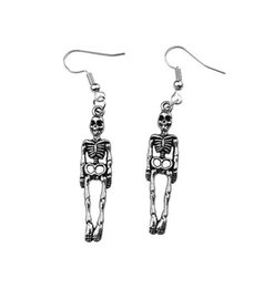 Skeleton Gifts Australia - 2019 New Style Ancient Silver Skeleton Skull Bones Halloween Costume Gothic Pendant Earrings Personality Creative Women Jewelry Holiday Gift