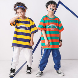 6c42aa9b09d Kids Hip Hop Stripe Tshirt Clothing Girls Boys Sweatshirt Jogger Pants Jazz  Dance Costume Ballroom Dancing Clothes Street Wear