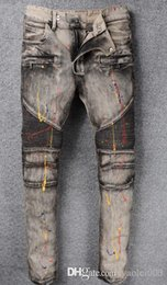 $enCountryForm.capitalKeyWord NZ - Europe and the United States high street fashion motorcycle pants do the old gray paint stitching Slim micro-embossed jeans
