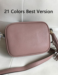 Wholesale white crosses resale online - 21 Colors Best Version Genuine Leather Soho Disco Women s Small Flap Bags cm Classic Ladies Tassel Cross Body Bag