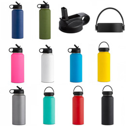 double wall stainless water bottles UK - 18oz 32oz 40oz Stainless Steel Vacuum Insulated Water Bottles New Double Wall Leak Sports Flask Mug Cup Mouth Lid Cap Cups