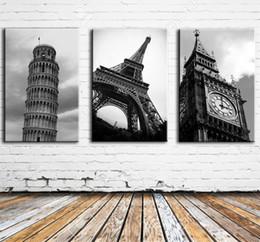 Big Ben Paintings Australia - Pisa,Eifel Tower,Big Ben,3 Pieces Canvas Prints Wall Art Oil Painting Home Decor (Unframed Framed) 16x24x3.