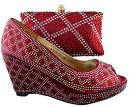 $enCountryForm.capitalKeyWord NZ - Designer Beautiful Ladies Pumps Design African Shoes Matching Handbag Set With Rhinestone Decoration For Party 1308-l51 Wine