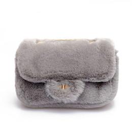 Plush Bag Lady Australia - 2019 Winter Fashion Sweet Lady Mini Square Bag Quality Soft Plush Women's Designer Handbag Lock Chain Shoulder Messenger Bags