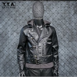 $enCountryForm.capitalKeyWord Australia - Punk Faux Leather Jackets Pu Leather Male Jacket Thick Warm Windproof Coat Solid Hooded Motor Biker Jacket Jaqueta Outwear
