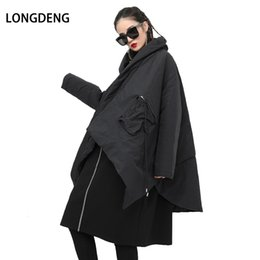 bat belt NZ - [LONGDENG] 2019 Winter Jacket Women Black Loose Bat Sleeved Irregular Large Size Cotton-padded Coat Women Parkas Fashion 180505