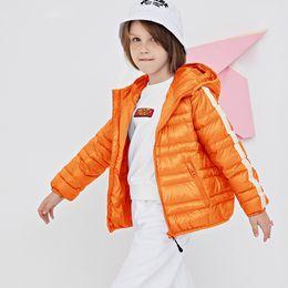 Wholesale nylon jacket hood resale online – Kids Hooded Down Jacket Boys Striped Splice Zipper Coat Kids Clothes Girls Winter Warm Outwear Teens Casual Pocket Jacket