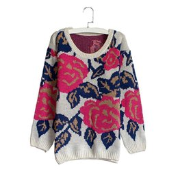 $enCountryForm.capitalKeyWord UK - Rose Flowers Print Sweater Autumn Winter Europe Us Retro New Women Colorful Red Blue Contrast Color Knit Pullover Thick Warm Wool Blend