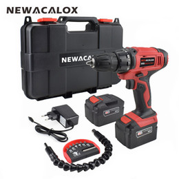 Lithium power batteries online shopping - NEWACALOX EU V Max DC Cordless Electric Drill Household Lithium Battery Set Wireless Screwdriver Drill DIY Power Driver Tool