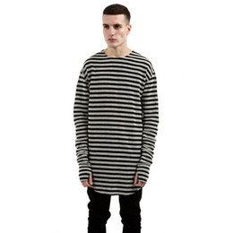0ce8c897 2019 Men Hip Hop Mens T-shirts Striped Long Sleeve T Shirt Extended  Oversized 100% Cotton Tee Shirt Homme T Shirt Men
