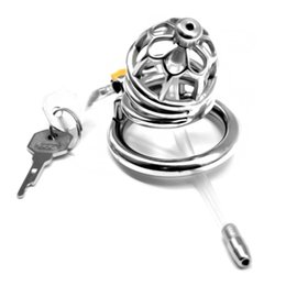 $enCountryForm.capitalKeyWord NZ - 2019 Newest Stainless Steel Round Rings Chastity Lock Chastity Apparatus with Catheter Penis Cage Sex Toys for Men G7-1-264D