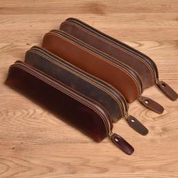 $enCountryForm.capitalKeyWord Australia - Cowhide Leather Zippered Pen Bag Handmade Retro Leather Pen Box Stationery Cover pencil pouch stationery organizer
