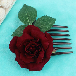 $enCountryForm.capitalKeyWord Australia - Romantic Fancy Silk Artificial Rose Flower Hair Comb Purple White Hair Clip Wedding Bridal Women Prom Headpiece Party Tool