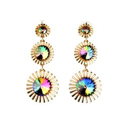 rhinestone dangle earrings wholesale UK - Fashion and Popular European and American Style Party Accessories Color Rhinestone Crystal Long Dangle Stud Earrings E5501