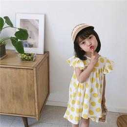 09af008e788 Детские платья для девочек желтые в горошек принцы одеваются дети на  шнурках Луки Falbala летать рукав платье летняя детская одежда F7208