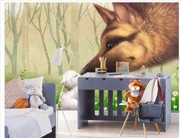 $enCountryForm.capitalKeyWord Australia - Papel de parede Custom 3D photo mural wall paper Cartoon wolf and small animal children room background decoration wallpaper for walls 3d