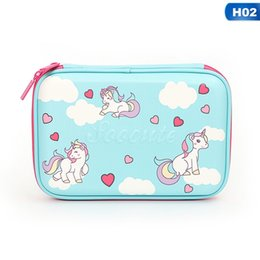 horse stationery NZ - Large Capacity Pencil Case Cute Mermaid Horse Pen Bag For Girls And Boys Zipper EVA Pencil Box Stationery Supplies