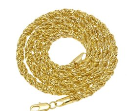 14k Twisted Chains Australia - 18K gold Hip hop necklace gold-plated copper twist chain 6.5mm thorns twist Rope Necklace