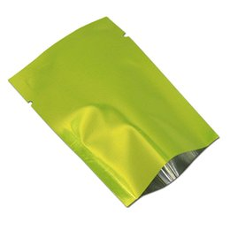 $enCountryForm.capitalKeyWord UK - 10*15cm 200pcs glossy green open top heat seal package bags details gift packing vacuum mylar foil bag with tear notch sample pouch