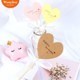 $enCountryForm.capitalKeyWord Australia - 10pcs Paper Love Heart Theme Happy Birthday Cake Topper Sweet Heart Shaped Cupcake Topper Party Supplies Cake Decorating
