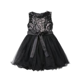 costumes for prom NZ - Black Sequins Princess Girls Dress Kid baby Girl Tulle Wedding Evening Party Dresses Child Prom dress New Year costumes for girl