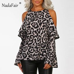 $enCountryForm.capitalKeyWord Australia - Nadafair Ruffles Off Shoulder Loose Leopard Print Shirt Women Flare Long Sleeve Sexy Animal Print T Shirt Female Leopard Tshirt Y19042101