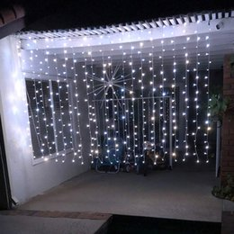 string lights au plug Canada - 6M X 2M 384 LED Curtain Icicle Fairy String Lights, with, 8 Modes for Wedding Party Family Patio Lawn Decoration EU US UK AU Plug