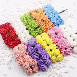 orange white roses bouquet Australia - 144 pcs 2 cm Mini Foam Rose Artificial Flower Bouquet Multicolor Rose Flower Wedding Scrapbooking Decoration Fake