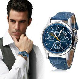 $enCountryForm.capitalKeyWord Australia - Novel Design New Man Fashion Crocodile Faux Leather Mens Analog Watch Relojes Hombre Blue Pu Leather Watches Dropshipping