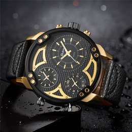 $enCountryForm.capitalKeyWord Australia - Oulm Three Time Zone Male Wristwatch for Travel Abroad Casual Sport Men's Quartz Watches Unique Design Man Watch