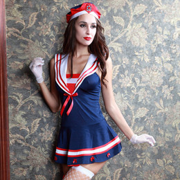 Adult Anime Games Australia - 5pcs Blue Anime Navy Uniform Women Sexy Sailor Costume Adult Fancy Dress Halloween Role Playing Game Carnival Party Costumes