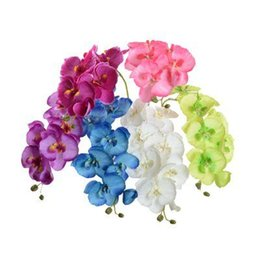 "Fake Flowers For Home UK - Silk Orchids 70cm 27.56"" Fake Single Stem Vanda Phalaenopsis Oncidium Moth Orchid for Wedding Home Artificial Decorative Flowers"