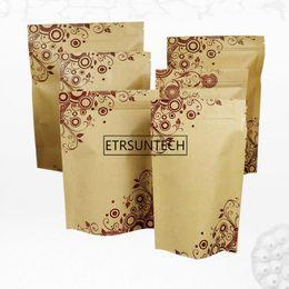 $enCountryForm.capitalKeyWord Australia - 500pcs Brown Kraft Paper Zipper Doypack Aluminum Foil Grip Seal Ziplock Food Storage Stand Up Pouches Bags Packaging Printing